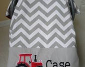 Personalized Tractor Car Seat Canopy In Premier Prints Chevron