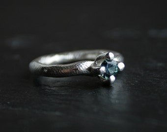 Sterling silver and natural sapphire primitive ring - OOAK, ready to ship in size 7