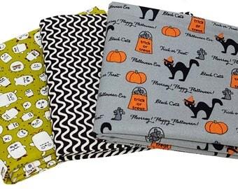 Bundle of 3 Halloween Prints in Orange, Black and Gray, by Moda