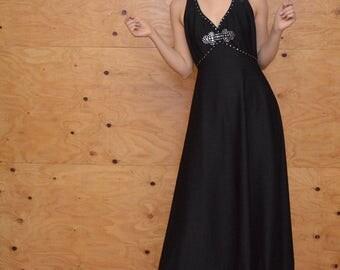 Vintage 60's Evening Maxi Dress Dramatic Black Empire Maxi With Rhinestone Bust  Detail & Unique Back SZ S