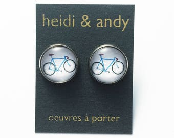 Hypoallergenic , Bicycle earrings , Stainless Steel Studs , Cyclist , Sport earring Post , White , Blue , drawing , Jewelry , Gift