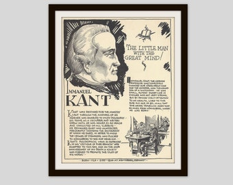 Immanuel Kant, Vintage Art Print, Classroom Art, History Lovers Gift, Teacher Gift, Man Cave Decor, German Philosopher, Modern Philosophy