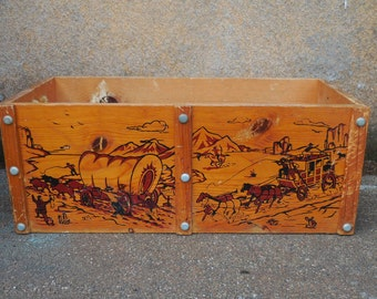 Vintage Wood Toy box Western Trail cowboy Horses Covered wagon Rustic storage chest