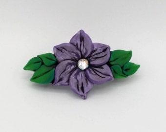 Violet Flower Barrette 3 Inches; Purple Plumeria; Floral Hair Accessory; Spring Fashion; Style No: VIF02