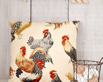Chicken Pillow Cover - Barnyard Rooster Pillow - Hens and Roosters Chicken Decor - French Country Farmhouse pillow - beige red black