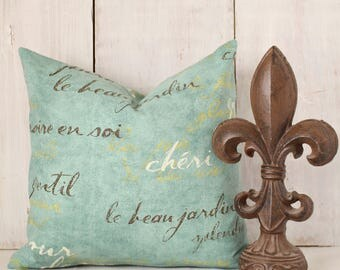 Turquoise French Script Pillow Cover - Aqua Throw Pillow - Turquoise and Brown Decorative Pillow Cover