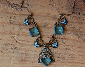 Vintage 1930s Czech baby blue glass statement necklace