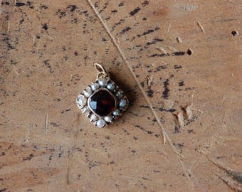 Vintage teeny tiny 1920s rose cut garnet and seed pearl pendant