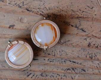 Victorian banded agate rose gold collar buttons or cuff links