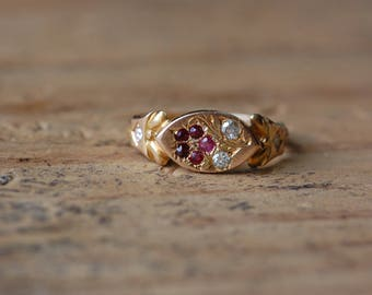 """Victorian 15 CT ruby and diamond pansy flower """"think of me """" sweetheart ring"""