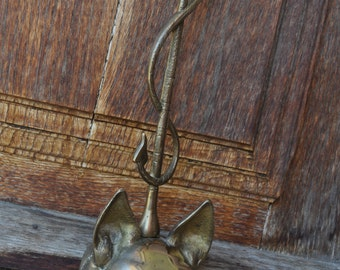 Vintage Brass Fox and Whip Doorstop