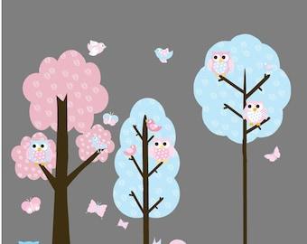KidsTree with Polka Dots- Owls - Birds Vinyl Wall Decal Sticker Home Decor
