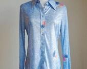 Vintage 70s Blouse, Blue Button Down Shirt, Long Sleeve Blouse, Blue with Flowers, 1970s Shirt, Secretary Blouse, Preppy Shirt, Medium