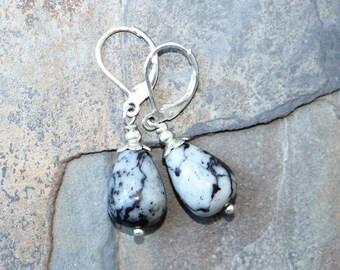 Black and Gray Stone Earrings, Zebra Jasper Earrings, Natural Stone Earrings, Bohemian Earrings, Handmade Earrings, Teardrop Earrings