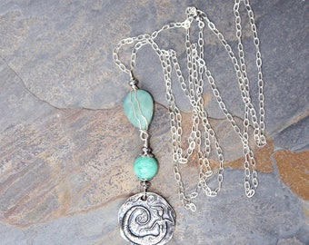 Mermaid Necklace, Long Necklace, Amazonite Necklace, Natural Stone Necklace, Aqua Necklace, Aqua Blue Necklace, Bohemian Necklace