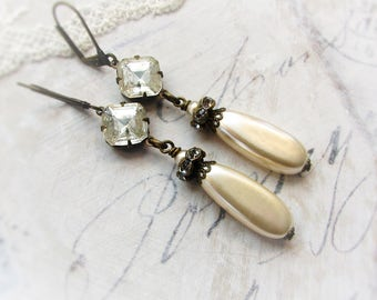 Vintage Elegance, Antiqued Victorian Style,Long Pearl & Rhinestone Downton, Assemblage Earrings by Hollywood Hillbilly