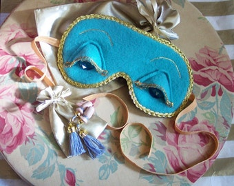 Breakfast at Tiffany's Holly Golightly Audrey Style Teal Gold Sleep Mask & Optional Tassel Ear Plugs Set