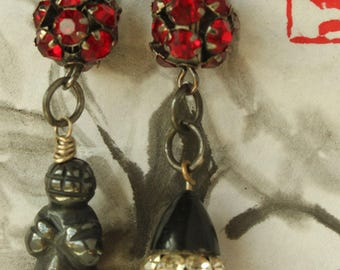 Dark Venus of Willendorf GODDESS Carving Earrings Hematite and Vintage Charms ancient primitive goddess earrings