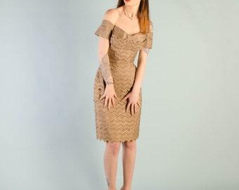 Vintage 1950's Fawn Silk Eyelet Dress