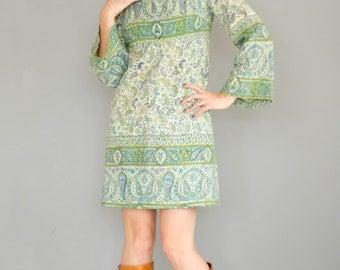 Vintage 1970's Batik Indian Cotton Mini Dress