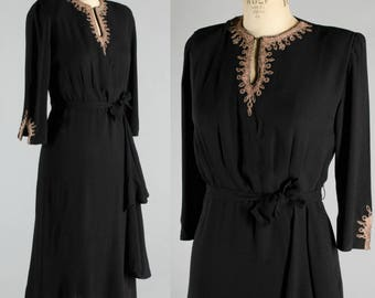 Vintage 1940's Beaded Rayon Drape Dress