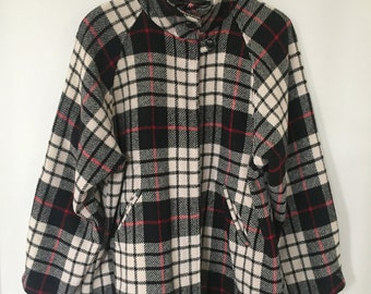 Vintage Orvis Plaid Wool Shirt Jacket -- Women's Cut -- 1980s -- Black, Cream, Red -- Stand-Up Collar, Full-Zip