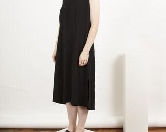 Black Midi Dress / Straight Sleeveless Dress / Comfy Long Dress