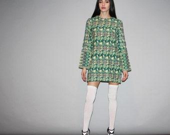 1960s Vintage Green Ethnic Indian Handwoven Bohemian Boho Tapestry Hippie Dress - Vintage 60s Short Dress  - W00066