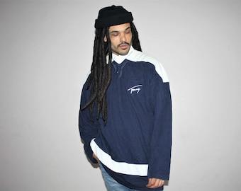 Vintage 90s Tommy Colorblock Button Up Hip Hop Rap Sweatshirt - 1990s Tommy Shirt - 90s Clothing - MV0127