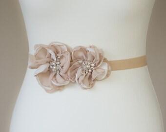 Bridal sash, Floral bridal sash, Flower wedding belts sashes, Champagne wedding dress belt,  Vintage wedding