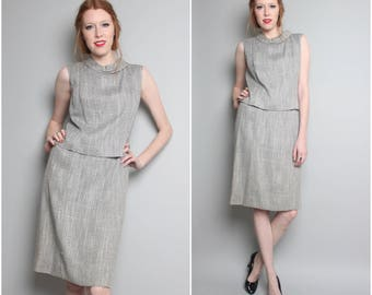 1960's Two Piece Dress / 60's Gray Shift Dress / Sleeveless / Medium
