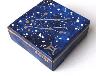Gemini Constellation painting, zodiac sign art, 4x4 inch miniature acrylic canvas