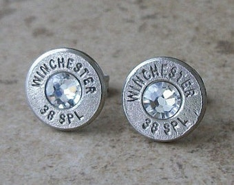 Winchester 38 Special Nickel Bullet Earring, Lightweight Thin Cut, Clear Swarovski Crystal, Surgical Steel Post - 410