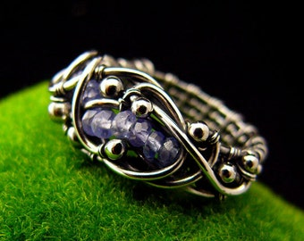 Tanzanite Ring - Wire wrapping Ring -  Fine Silver - Nehesi