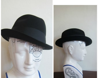 Vintage 1950s Men's Fedora Hat in Black Wool / 50s Classic Men's Hat by Parkway