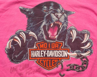 Pink Harley-Davidson Black Panther T-Shirt, Motorcycles, Boswell's Nashville, Vintage 90s, Music City, Tennessee, Can't Chain the Power
