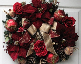 Christmas Wreath - Holiday Wreath – Winter Floral - Poinsettia Christmas Wreath - Outdoor Winter Wreath – Front Door Wreath – Winter Wreath