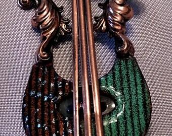 Vintage Matisse Enameled Copper Lyre Brooch Pin 1950s Enamel Copper Lyre Motif Pin