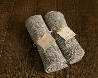 Ready to Ship Salt and Pepper Knit Wrap - Baby Wrap - Newborn Photography Prop