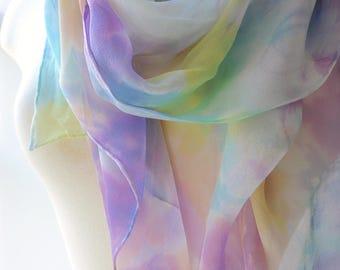 Made to Order: Hand Painted Silk Scarf - Sheer, Lightweight, Vatta-Inspired