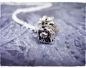 Tiny Pekingese Necklace - Sterling Silver Pekingese Charm on a Delicate Sterling Silver Cable Chain or Charm Only
