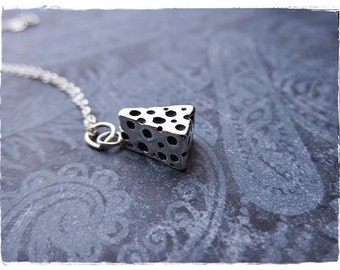 Silver Cheese Wedge Necklace - Sterling Silver Cheese Wedge Charm on a Delicate Sterling Silver Cable Chain or Charm Only