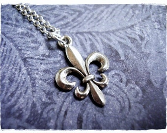 Silver Fleur de Lis Necklace - Antique Pewter Fleur de lis Charm on a Delicate Silver Plated Cable Chain or Charm Only