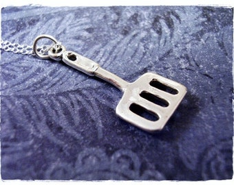 Silver Spatula Necklace - Sterling Silver Spatula Charm on a Delicate Sterling Silver Cable Chain or Charm Only