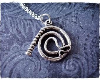 Silver Whip Necklace - Sterling Silver Whip Charm on a Delicate Sterling Silver Cable Chain or Charm Only