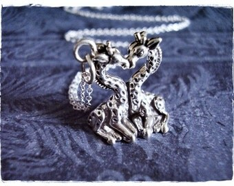 Silver Kissing Giraffes Necklace - Sterling Silver Kissing Giraffes Charm on a Delicate Sterling Silver Cable Chain or Charm Only