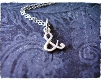 Tiny Ampersand Necklace - Sterling Silver Ampersand Charm on a Delicate Sterling Silver Cable Chain or Charm Only