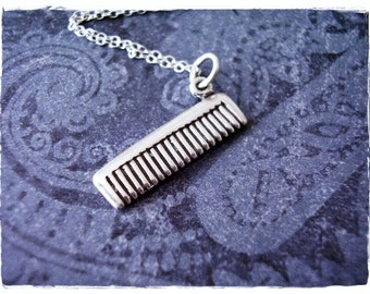 Silver Hair Comb Necklace - Sterling Silver Hair Comb Charm on a Delicate Sterling Silver Cable Chain or Charm Only