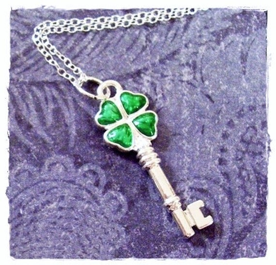 Green Clover Key Necklace - Green Enameled Silver Plated Clover Key Charm on a Delicate Sterling Silver Cable Chain or Charm Only