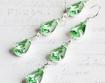 Green Drop Earrings, Light Green Earrings on Silver Plated Hooks, Teardrop Dangle Earrings, Rhinestone Jewelry, Vintage Glass